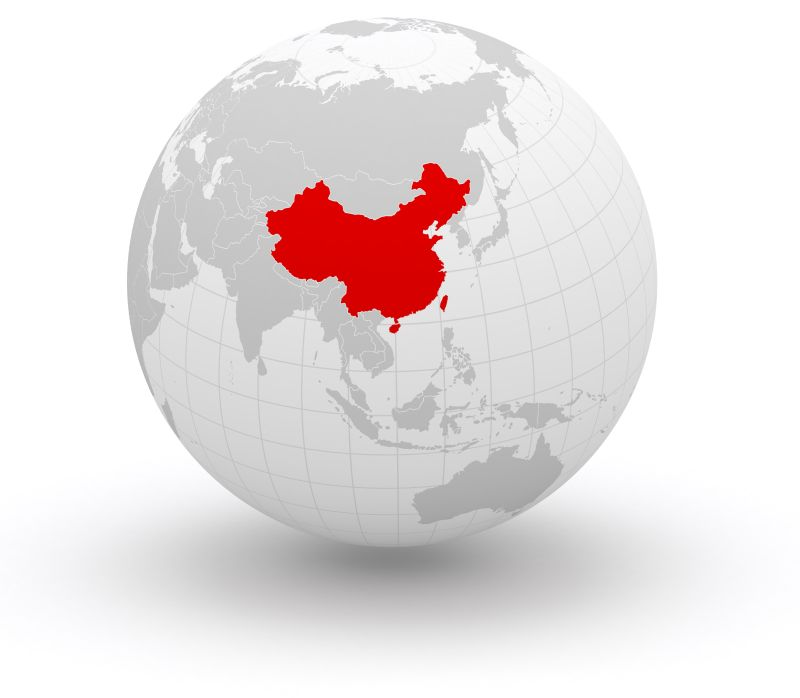 Globe with China highlighted